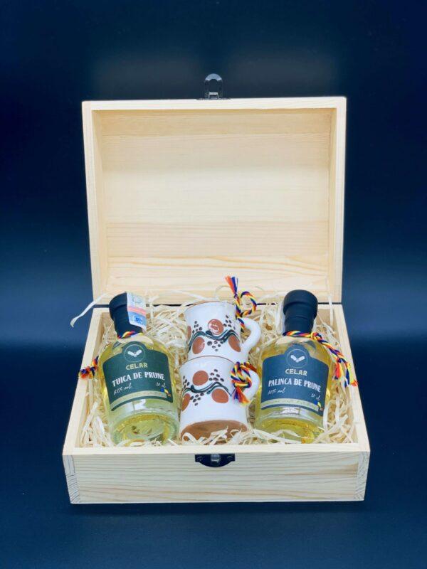 Cutie cadou 2 sticlute 100ml si 2 cescute traditionale - CELAR