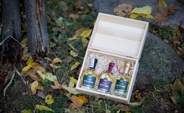 CELAR- Cutie cadou traditional cu 3 sticlute 100ml- Tuica, Rachiu, Palinca (5)